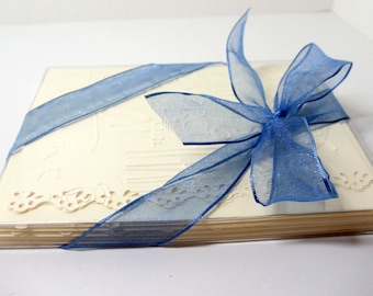 Thank You Cards- Wedding- Embossed- Linen Lined- Boxed Set- 6 Cards- Lacy Edges-  Handmade
