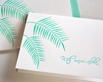 Letterpress Cards Hawaii Palm Leaves Aloha Stationery Blue