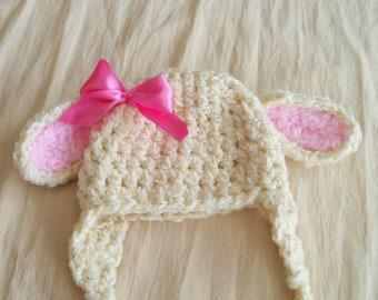 Newborn Baby Hat - Lamb Hat - Baby Lamb Hat  - Baby Lamb Hat - by JoJosBootique