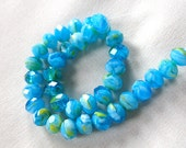 """Tropical Blue Green Yellow White Millefiore Faceted Crystal Rondell Beads, 9mm x 7mm, 9.5"""" strand, 35 pieces"""