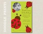 "Printable Birthday Party Invitation - Red Laybug Design - Garden Birthday Party - 4x6"""