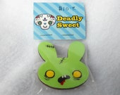 Zombie Bunny Wood Brooch by Deadly Sweet