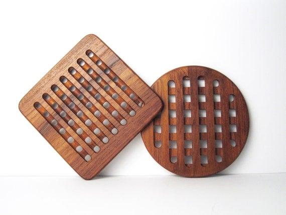 Pair of Danish Modern Teak Lattice Trivets / Mid-Century Wood Trivets