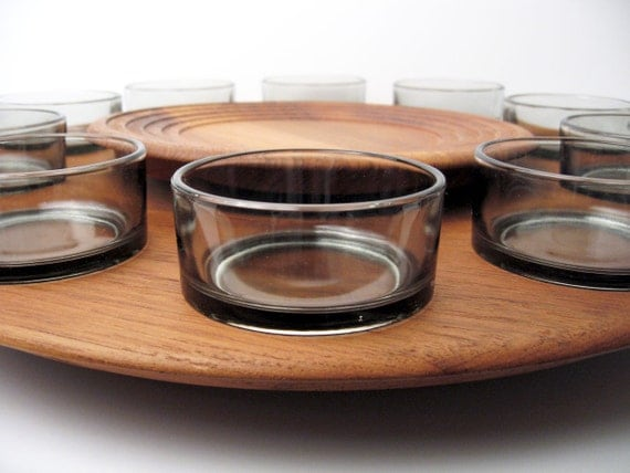 RESERVED: DIGSMED Large Lazy Susan Tray  / Teak Smoked Glass / Mid-Century Danish Modern Serving Dish / Platter