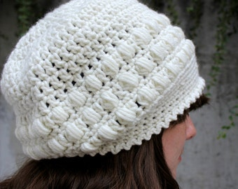Off White Slouch Hat,  Crocheted Hat, Slouchy Beanie Hat, Womens Accessories