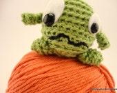 Booger the Green Crochet Amigurumi Monster Bamboo Silk Yarn Plush Toy