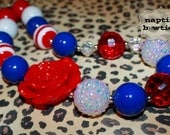 4th of July Necklace. READY TO SHIP