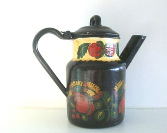 Vintage Hand Painted Toleware Pitcher
