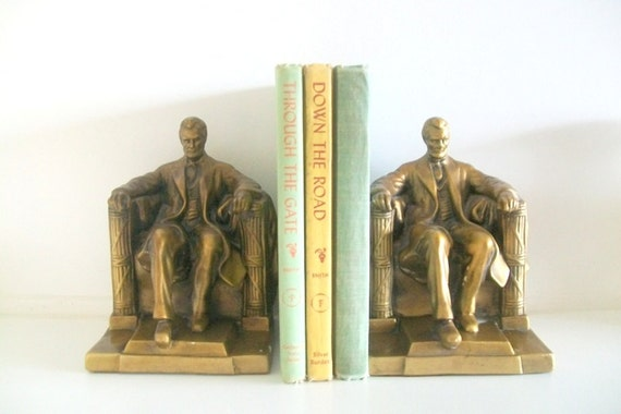 Vintage Metal Abraham Lincoln Bookends