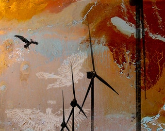 Theories of Flight  - Pelicans  -  8 x 10  Encaustic Canvas with Wind Farm Photographic Etching - Limited Edition Print