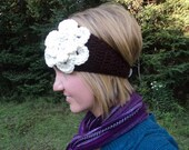 Ear Warmer Headband with Flower- brown and ivory