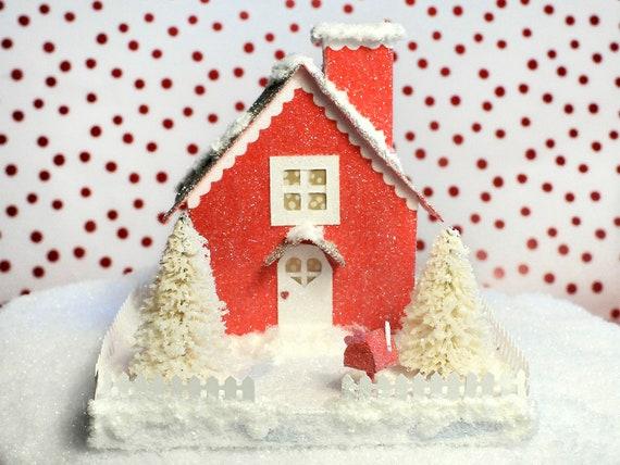 Valentine Glitter Putz House Red Cottage