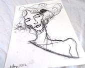 Original Ink Monotype Face Figure Drawing 03 by juliacalimera