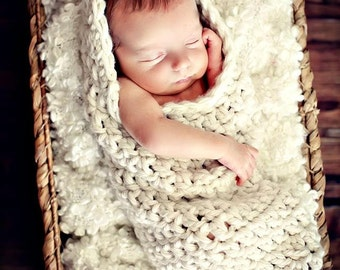 Newborn Baby Photo Prop Cream Hooded Cocoon