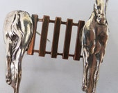 Vintage jewelry brooch in sterling and copper horse and fence brooch