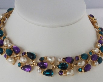Vintage jewelry necklace Trifari wedding necklace with pearls, purple, blue, rhinestones by Trifari