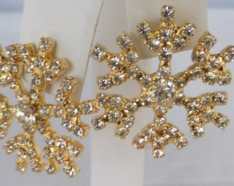 Vintage jewelry earrings snowflake gold clear crystal pierced earrings Sale half off