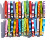 30 STUDENT CLOTHESPINS hand painted numbered classroom pegs