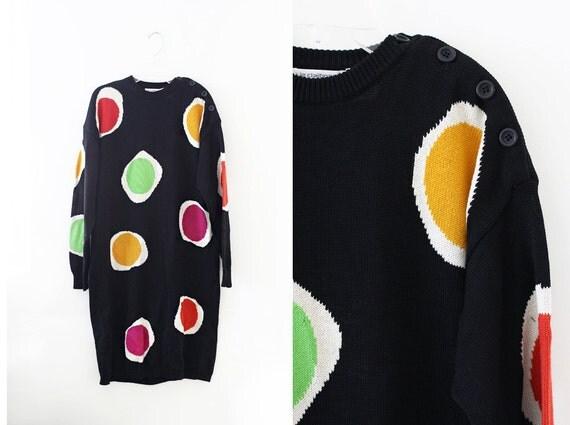 90's Cotton Sweater Dress / Pattern / Avant Garde