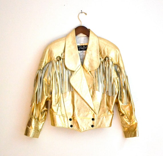 80s Vintage Metallic Gold Leather Jacket With Fringe//  Western Metallic Leather Jacket