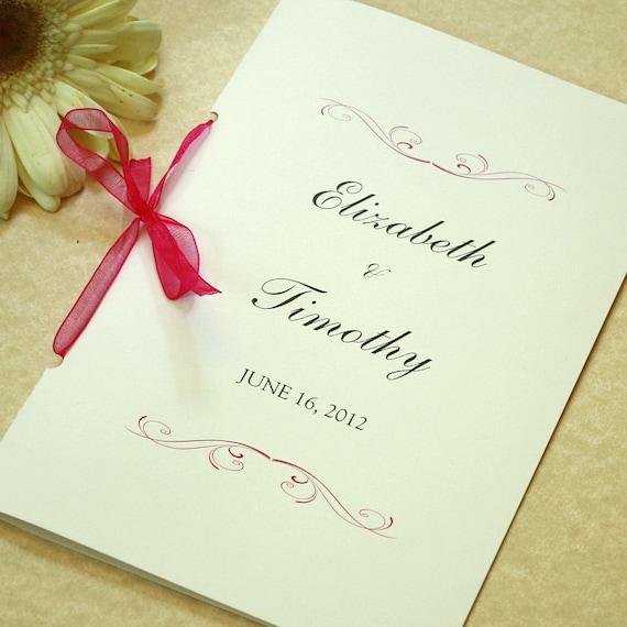 simple scroll wedding program ceremony program deposit