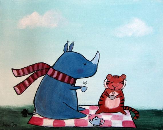 Jungle Nursery Decor, Whimsical Storybook Children Decor, Rhino and Tiger, Original Acrylic Painting