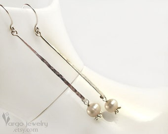 Sterling Silver Lily-of-the-Valley White Pearls Modern Minimalist Long Dangle Earrings Neutral