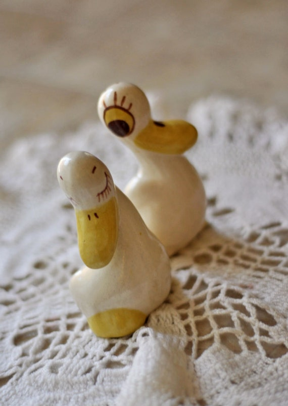 Vintage Silk Duck Figurines