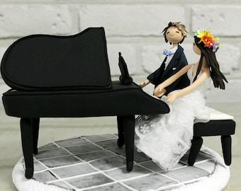 Playing piano couple custom wedding cake topper decoration gift