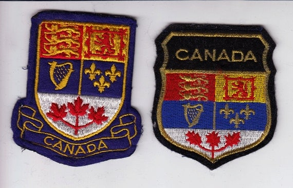 2 Vintage 1980s Canada Crests Badges Patches