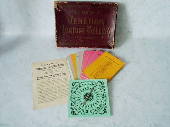 Venetian Fortune Teller Game - Original Rare Antique Fortune Telling Game - Vintage Gypsy Fortune Game