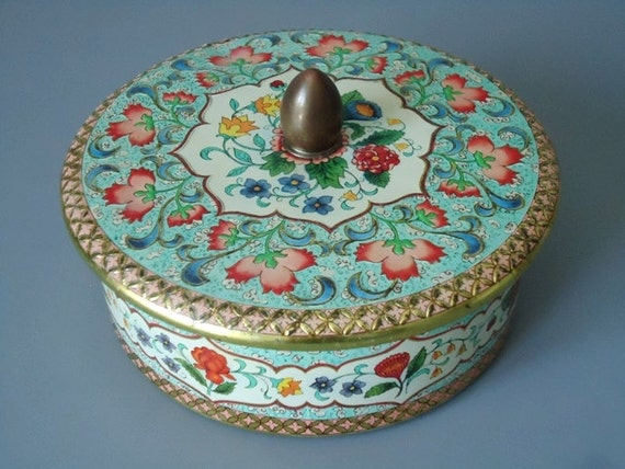 Vintage Holland Made Powder Tin - Holland Canister - Turquoise Floral Chintz Tin - Vintage Powder Tin
