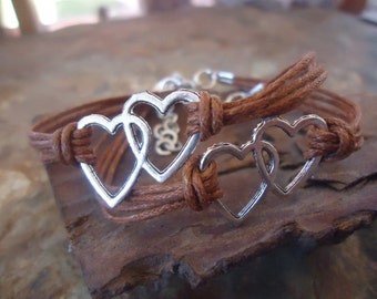2 RIENDSHIP BRACELETS - SET - with hearts (21)