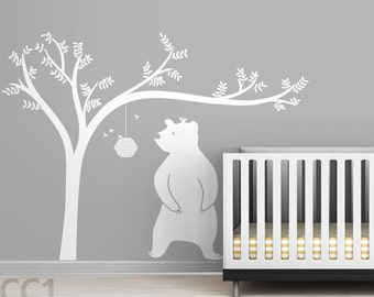 Honeyland Wall Decal - White Tree Decal and Cute Bear - Kids room decor