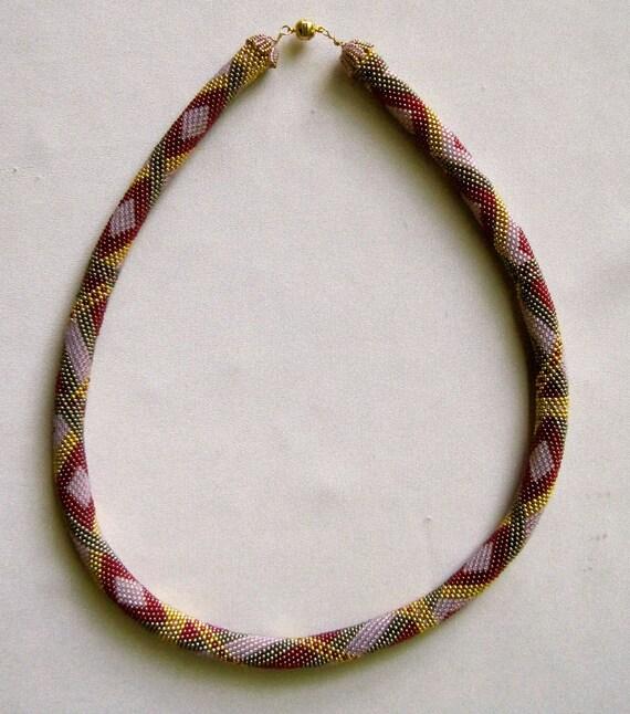 Bead Crochet Necklace Pattern:  Diamonds Are A Girl's Best Friend Bead Crochet Sampler Necklace