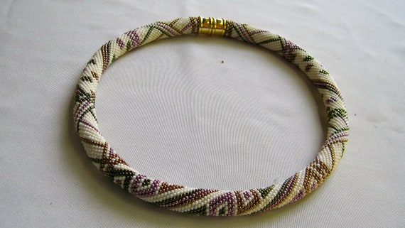 Bead Crochet Necklace Pattern:  Boxes and Spirals Bead Crochet Sampler Necklace Pattern