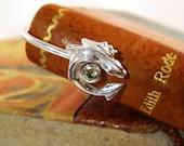 Silver bookmark with mini Smaug dragon and green peridoth