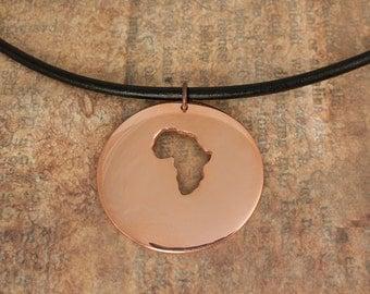 Africa Necklace - Adoption africa shape pendant copper- Collar Cobre redonda africa