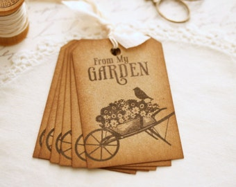 Vintage Gardening Gift Tags - From My Garden Fresh Food Gifts Canned Goods Fruit Basket Gifts Flowers