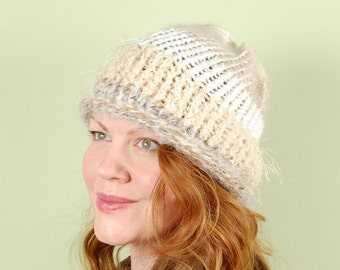 hand knit winter hat- CHAMPAGNE STRATA