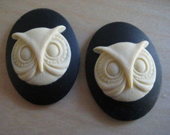 Owl Cameos 26mm x 18mm Resin lot of 2