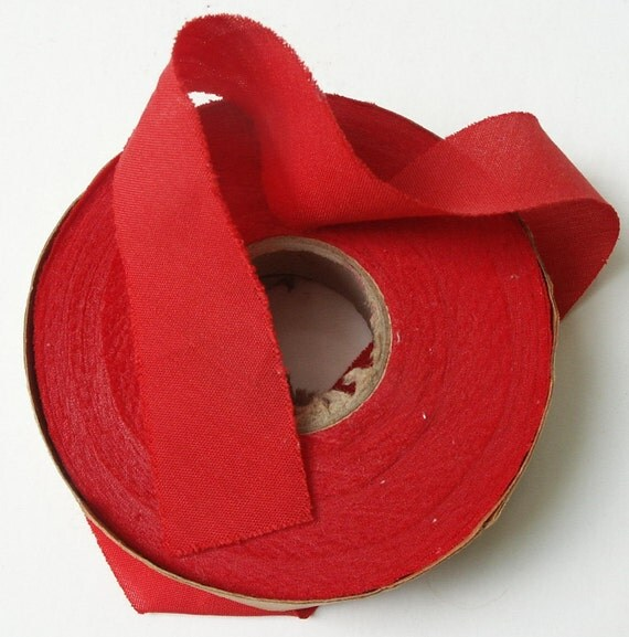 Roll Vintage Bias Cotton Red Fabric Tape Ribbon Trim