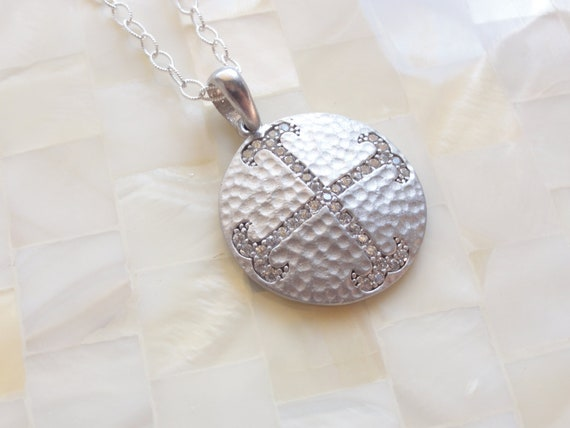 Matte Sterling Silver Pave CZ Cross Round Pendant on Textured Sterling Silver Chain Necklace