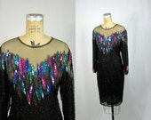 1980s Sequin Dress / Peacock Feather Sheer Beaded Rainbow Party Formal // Medium Large