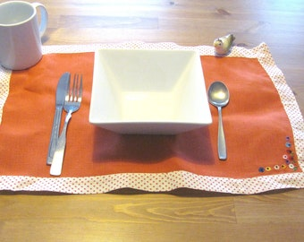 Mod Red Polka Dots and Flowers Placemats / Set of Seven 1960s Hand Embroidered Place Settings
