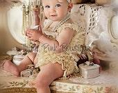 SALE Cream Petti lace romper. Pettiromper, lace rompers, lace romper, girls lace romper, Girls outfit, Smash cake outfit, Ruffled romper,