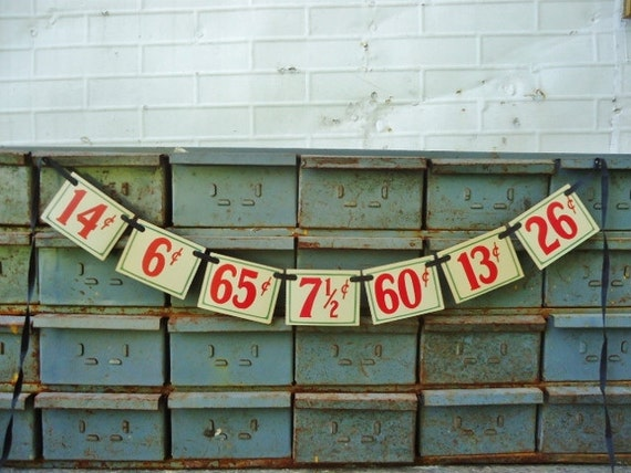 Vintage Price Tag Garland - Grocery Store Price Labels