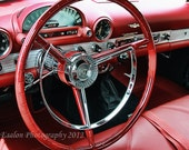 Classic Ford Thunderbird T-Bird dashboard red cockpit color print