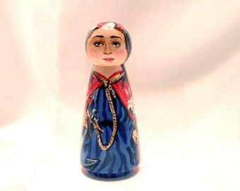 Saint Philomena - Catholic Saint Wooden Peg Doll Toy - made to order