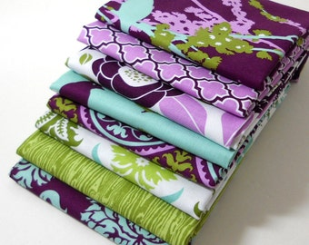 Fabric Bundle 8 FQs - Aviary 2 by Joel Dewberry  for Free Spirit - Lilac Palette - FAT QUARTER Bundle of 8